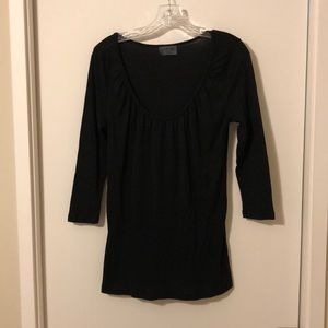 Michael Stars Black Scoop Neck Top One Size
